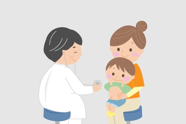 子どもが医療機関で受診しているイラスト