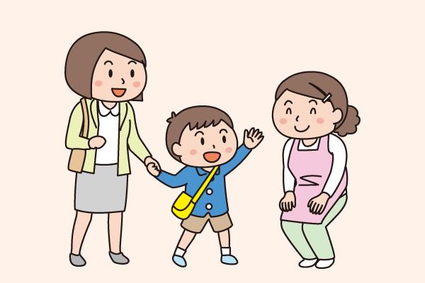 母が子を保育士に預ける様子のイラスト