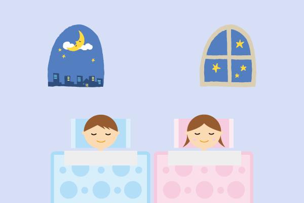 子供たちが就寝しているイラスト
