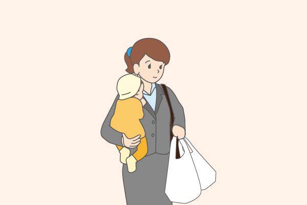 子供2人を養育している母のイラスト