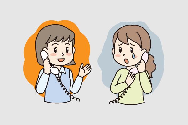 女性が泣きながら電話相談しているイラスト
